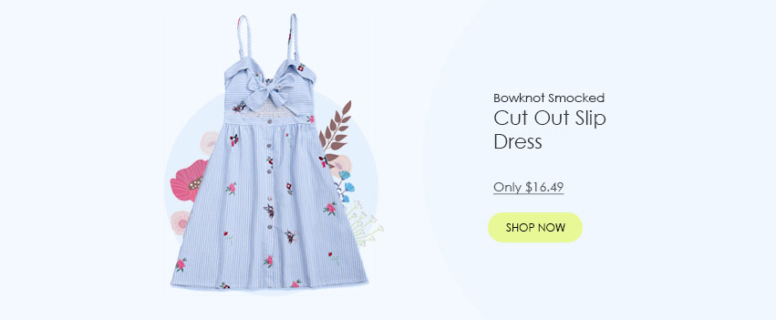 Bowknot Smocked Cut Out Slip Dress  Only $16.49 from Zaful