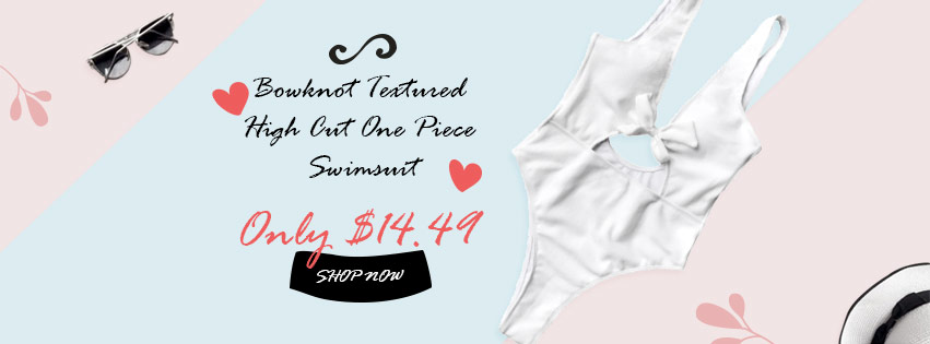Bowknot Textured High Cut One Piece Swimsuit Only $14.49 from Zaful