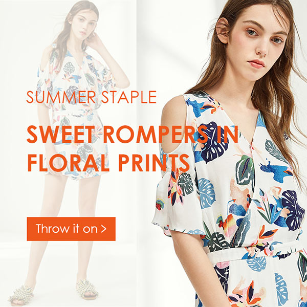 Zaful Summer Floral Print Romper Sale