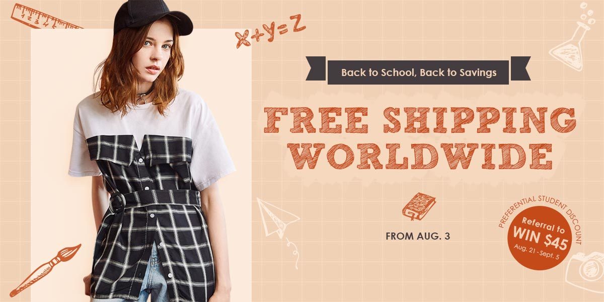 Zaful Back to school free shipping